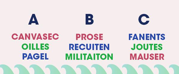 Parmi ces anagrammes, retrouvez celles à ne surtout pas oublier sur la route des vacances :